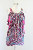 Cache Pink Paisley Print Dolman Sleeve Chain Embellished Cinched Top Blouse XS