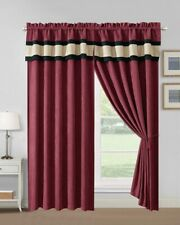 Modern 4 - Piece Burgundy, Taupe Color Block Curtain Set Drapes/Window Panels