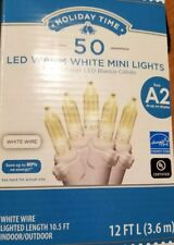 Warm White on WHITE wire 50 count MINI LIGHTS LED Christmas 13 ft NEW many avail