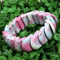 Pink Howlite Turquoise Gemstone Fillet Stretchy Bangle Bracelet Women Jewelry