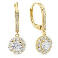 3.65ct Round Cut Halo Leverback Drop Dangle Designer Earrings 14k Yellow Gold