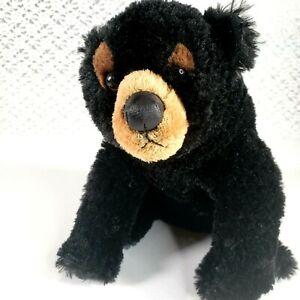 """Aurora 13"""" Black Bear Realistic Teddy Soft Stuffed Animal Toy Gift Plush"""
