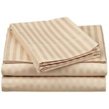 Tan Striped King 4 Piece Bed Sheet Set 1000 Thread Count 100% Egyptian Cotton