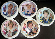 Set of 5 Royal Worcester Princess Diana Collector Plates Mint in Box 23KT Gold