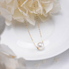 elegant 10mm south sea white round pearl 18k yellow gold necklace pendant 18inch
