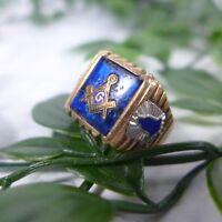 Vintage Men's FREEMASON Masonic Blue Sapphire 10k Gold Signed Ring Size 9.25