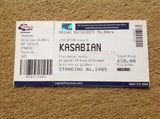 KASABIAN USED GIG TICKET NOTTINGHAM ICE ARENA 02/12/2011 FREE POST IN UK - OASIS