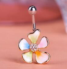 ENAMEL BELLY BUTTON STUD, FLOWER THEME,  SHIP FROM USA, BRAND NEW, SMALL SIZE