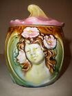 Antique Germany Majolica Figural Tobacco Jar Humidor woman Art Nouveau