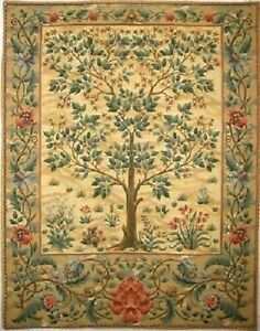 "37"" 94CM TREE OF LIFE BEIGE WILLIAM MORRIS DESIGN BELGIAN TAPESTRY WALL HANGING"