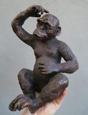 Monkey Bronze Vintage Sculpture figurine brass old dark patina no mirror