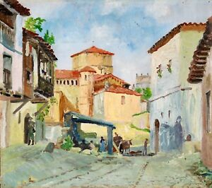 CHARLES BERGES (c.1880-1930) FRENCH IMPRESSIONIST OIL ON PANEL - FIGURES VILLAGE
