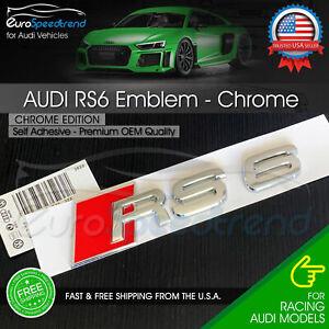 Audi RS6 Chrome Emblem 3D Badge Rear Trunk Tailgate for Audi RS6 S6 Logo A6