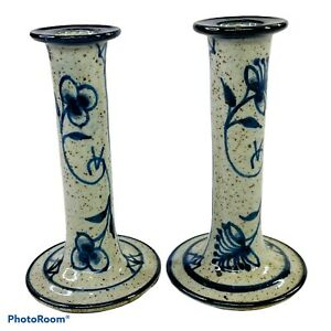 """Jesper Packness Danmark Art Pottery Pair Candlestick Denmark MCM Vintage 6.25"""""""
