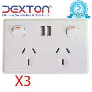 3X Double Power Point 10A 2x USB Outlets 2.1A Fast Charge White Free Delivery