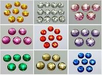 50 Acrylic Flatback Rhinestone Round Gem Beads NO HOLE 18mm Pick Your Color