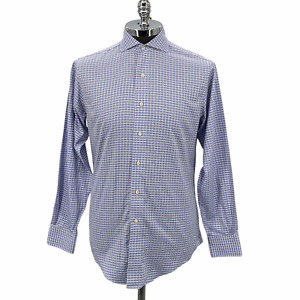 Brooks Brothers Dress Shirt Button Up Long Sleeve Blue White Men's Size 15/34