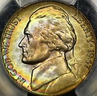Rainbow Toned PCGS MS65 1947 D Jefferson Nickel 5c Two Sided Color Looks FS 65FS