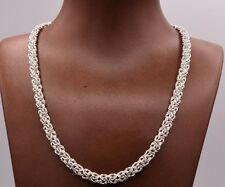 "18"" Italian Diamond Cut Byzantine Link Necklace Sterling Silver 925"