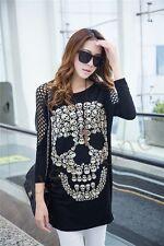 Rock Skull Womens T-shirt Cool Punk Printing Skull Loose Hobo Tee Blouse New