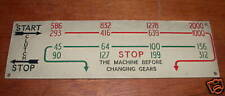 Harrison Lathe Nameplate/Speed Chart - Possibly L6