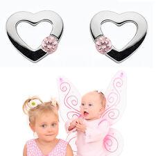 1 Paar Kinder Premium Herz Ohrstecker Ohrringe Zirkonia rosa Echt Silber 925 Neu