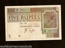 INDIA BRITISH 5 RUPEES P4B 1917 KING GEORGE V RARE CURRENCY MONEY GB UK BANKNOTE