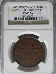 New Zealand 1866 Alliance Tea Co. Penny Token, NGC XF45BN, KM-TN1.1, A7