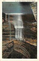 Curtain Cascade Waterfall, Watkins Glen, New York Vintage 1930s Postcard A06