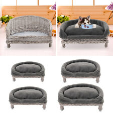 Hoary Wicker Pet Bed Cat Dog Sofa Couch Chair Rattan Raised Bed Cushion Optional
