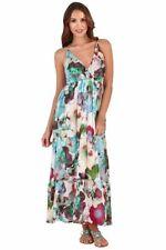 Ladies 100% Cotton Summer Purple Multi Coloured Floral Long Sun Dress