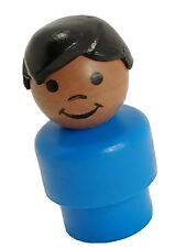 Vintage FisherPrice little people blue African American boy black hair 2550 RARE