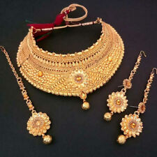 Indian Bollywood Wedding Traditional Kundan Bridal Gold Plt Necklace Set 4Pcs.