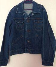 "VINTAGE 70s Wrangler da uomo Classic Mid Blu Denim Jeans Giacca XL 46"" 48"" sul petto"