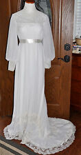 1920's Antique White Lace Wedding Gown With Bridal Train