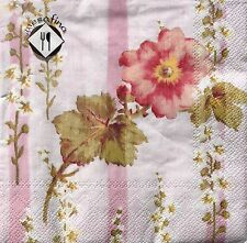 mESAFINA Set of 20 Luncheon Decoupage Paper Napkins - Pink Stripe Floral