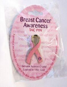 Breast Cancer Awareness Pink Ribbon Austrian Crystal Lapel Enamel Tac Pin NEW