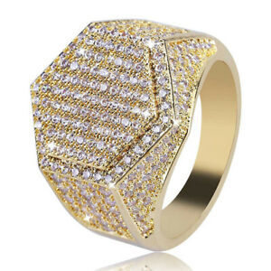 Luxury 18k Gold Plated Silver CZ Wedding Rings Mens Jewelry Wedding Party Ring