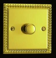 Varilight 1 Gang 1 or 2 Way 400W Push on/off Dimmer Light Switch Georgian Brass