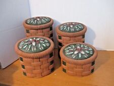 Set of 4 Ceramic Christmas Cannister Set~Basket Pattern w/ Holly & Berries