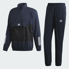 Adidas Originals 3 Stripes Blue Full Sports MTS Tracksuit Retro Size Large Navy