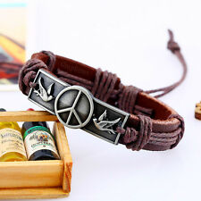 Peace Dove Bracelet Charm Leather Love Friendship Birds Wristband Bangle Gift