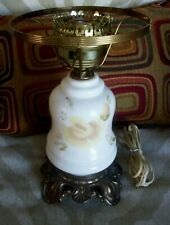 Vtg Accurate Casting Co.  Hurricane Lamp  Beige Green Floral 3-Way Base only