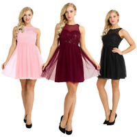 Sequins Mesh Sleeveless A-Line Dress Short Gowns Bridesmaid Sweet Party Dress