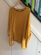 Linen Mix Oversized Tunic Top Mustard/Ochre Made In Italy NEW Lagenlook