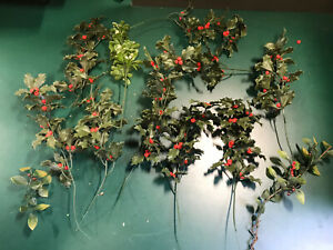 Christmas Decorations, Holly And Mistletoe, Spriggs, Plastic, And Wire