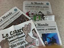 Evénements attentats  lot 3 Le MONDE + Canard Enchaîné Janvier 2015 Terrorisme