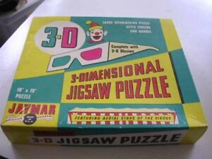 Vintage Jaymar 3-D Jigsaw Puzzle Featuring Aerial Stars of the Circus w/ Glasses
