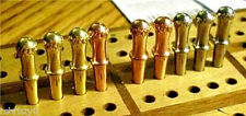 """9- Metal Cribbage Pegs """"Irish Crown-Top"""" Pegs For For 3/32"""", USA + Velvet Pouch"""