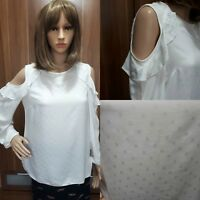 Ex F&F Ladies CREAM Cold shoulder Long Sleeve Top Size 6 - 22